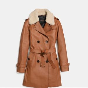 Coach leather trench Coat 🧥 Saddle Color